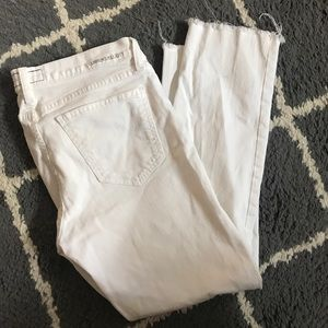 Current Elliot White Frayed Jeans